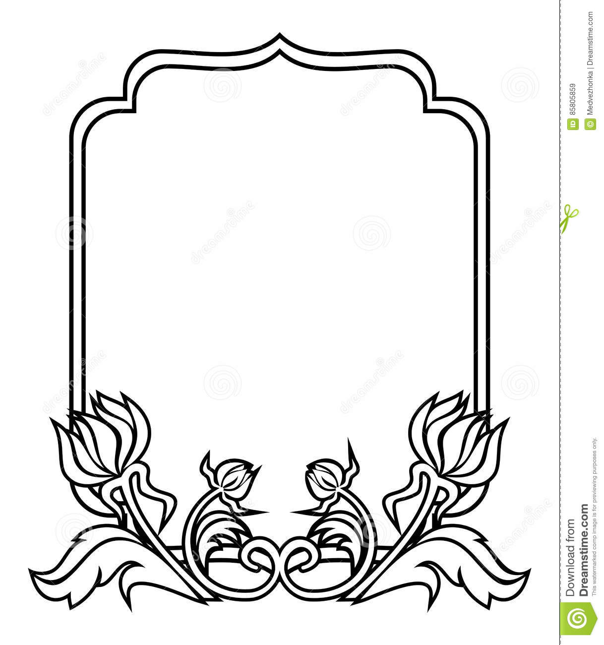 Black And White Frame With Flowers Silhouettes Raster Clip Art