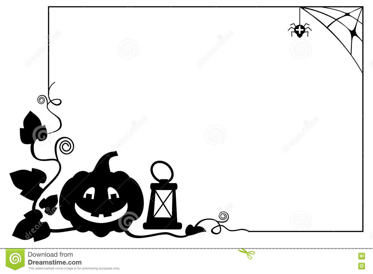 Black And White Frame With Halloween Pumpkin Silhouette Stock
