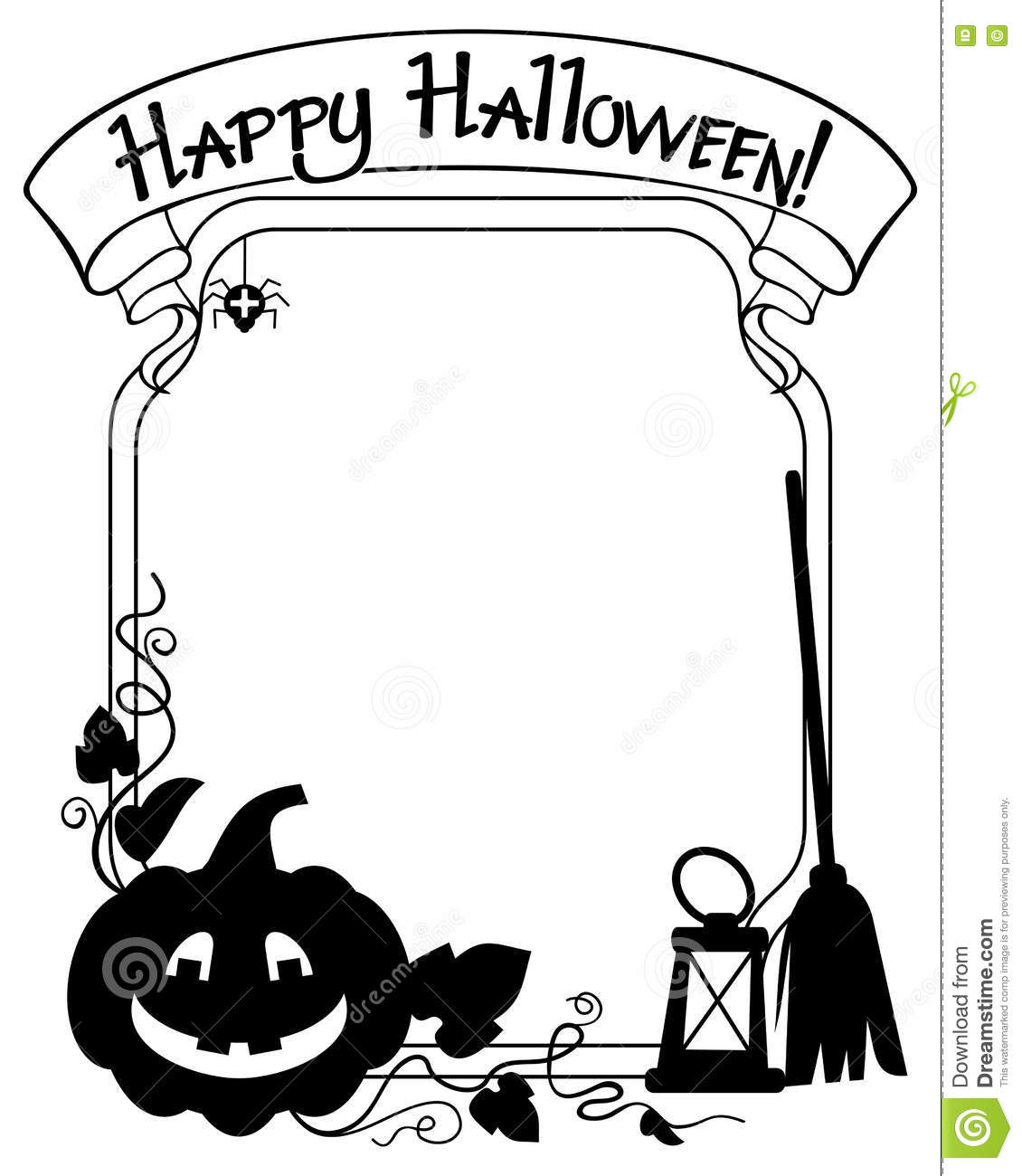 Black And White Frame With Halloween Pumpkin Silhouette ...