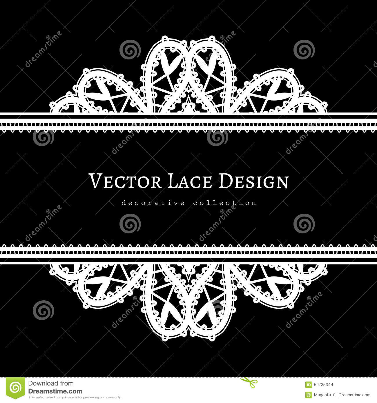 Black And White Frame With Tatting Lace Borders Illustration