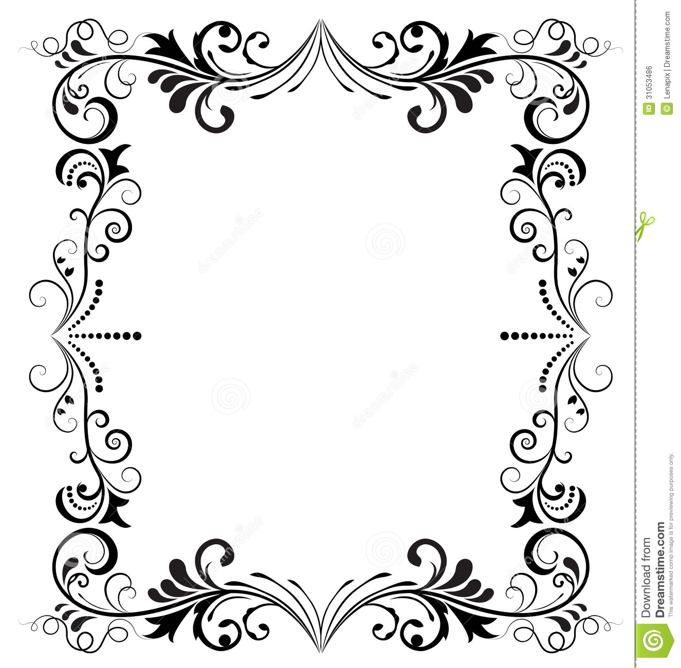 Black and white frame stock vector. Illustration of branches - 31053486