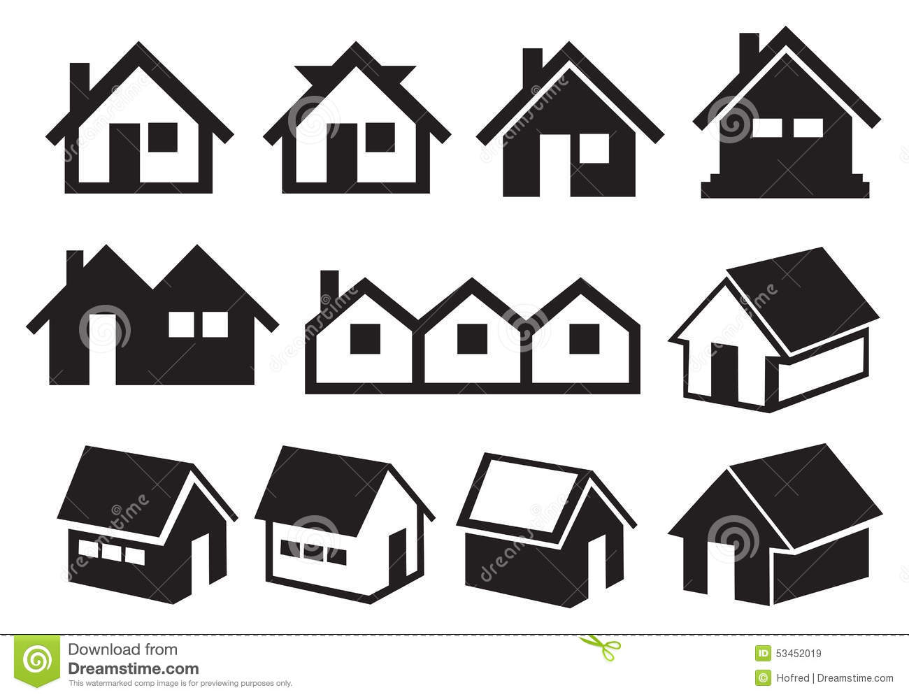 Black And White Gabled Roof House Icon Set Stock Vector