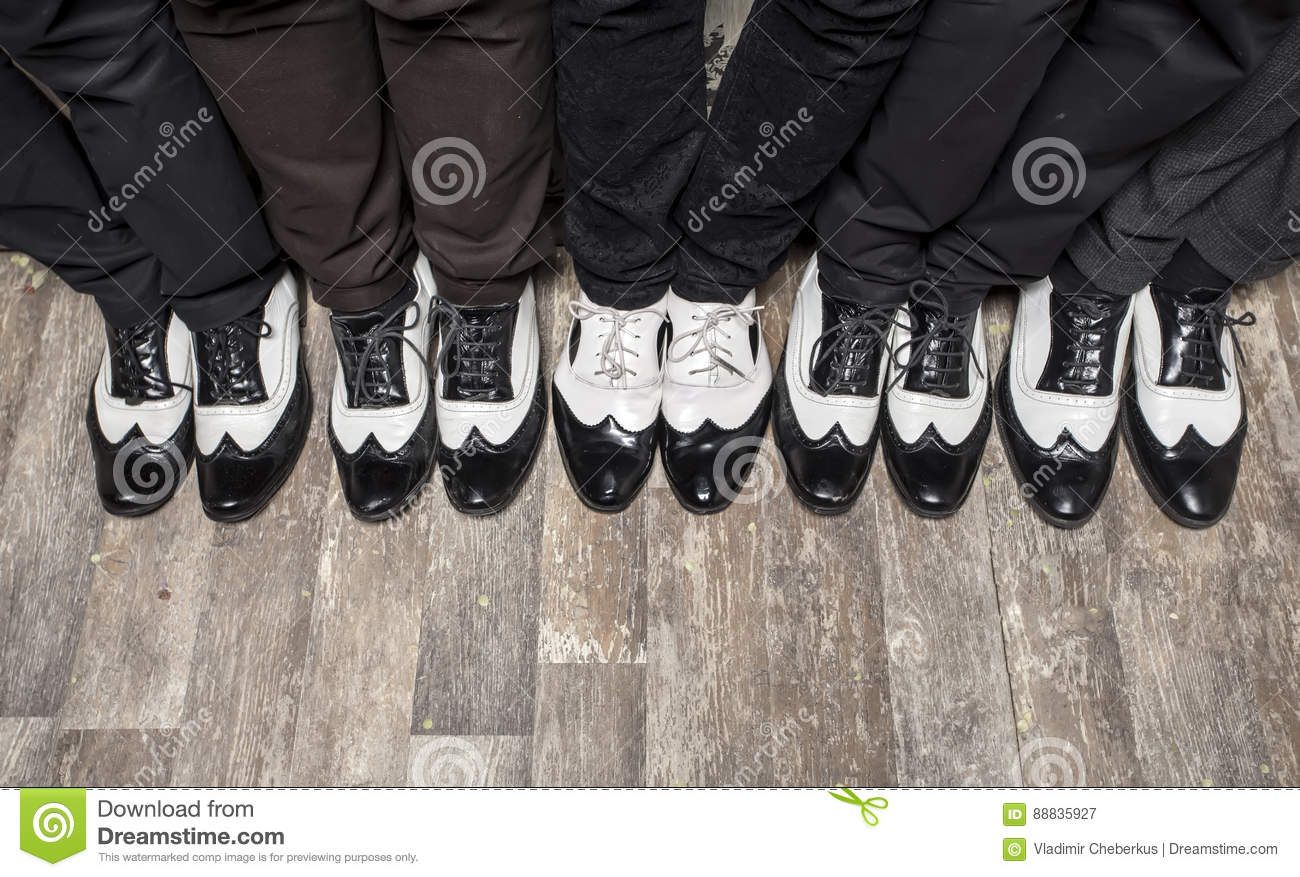 Black And White Gangster Shoes. Stock