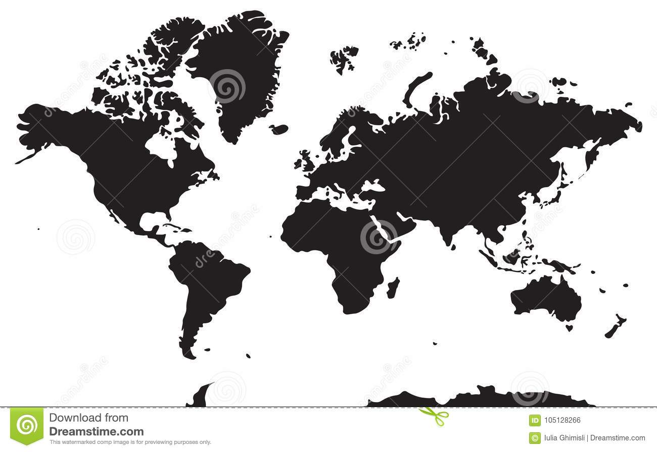 Black And White Geographical Map Continents Asia Europe North