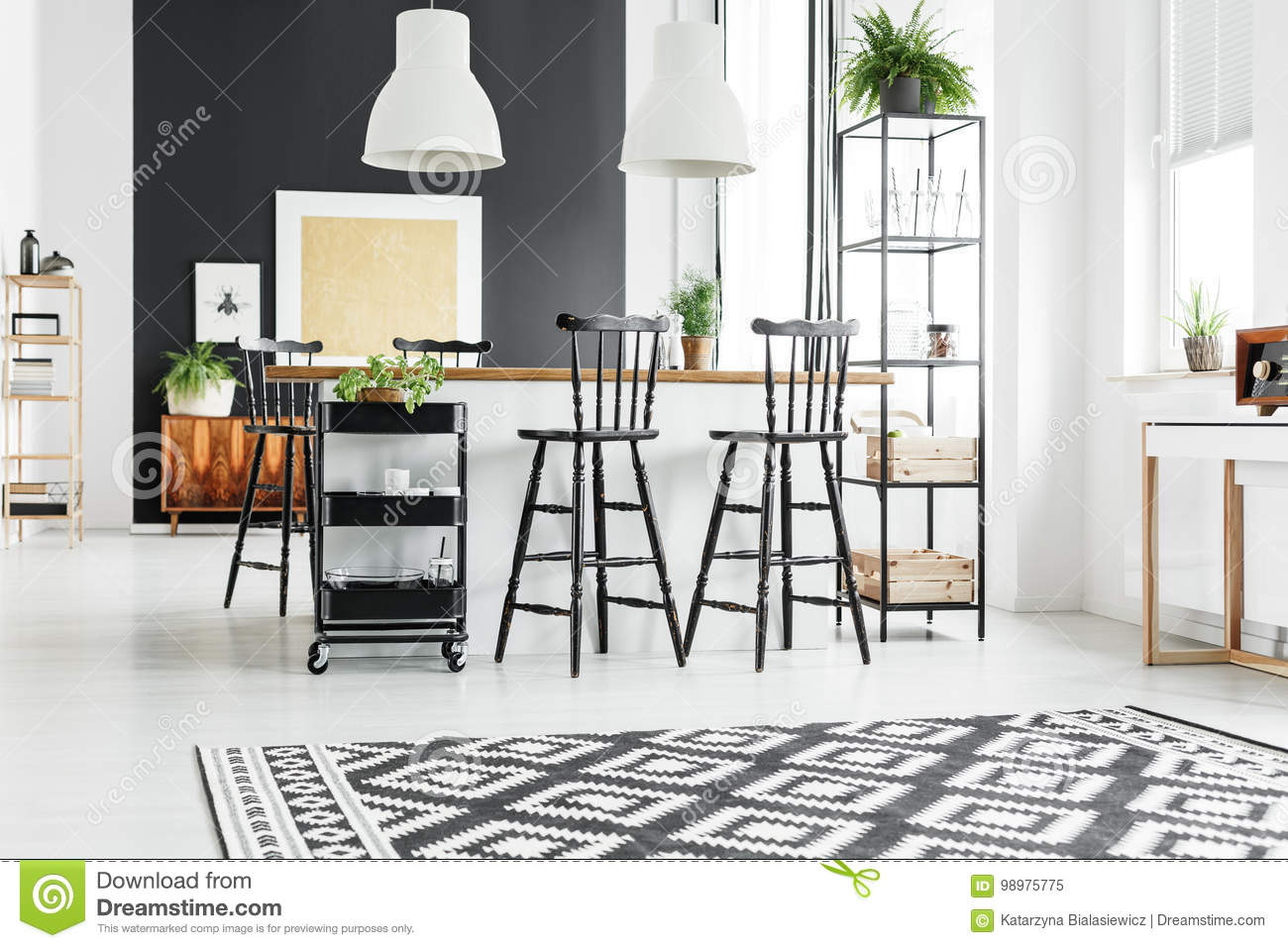 Rustic Kitchen With Bar Stools Stock Image Image Of Loft