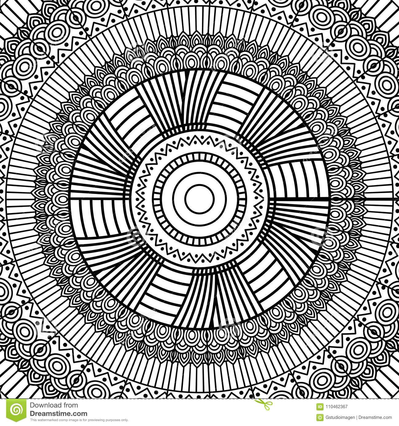 Download Black And White Geometric Mandala Tribal Round Ornament Decoration For Adult Coloring Book Stock Vector