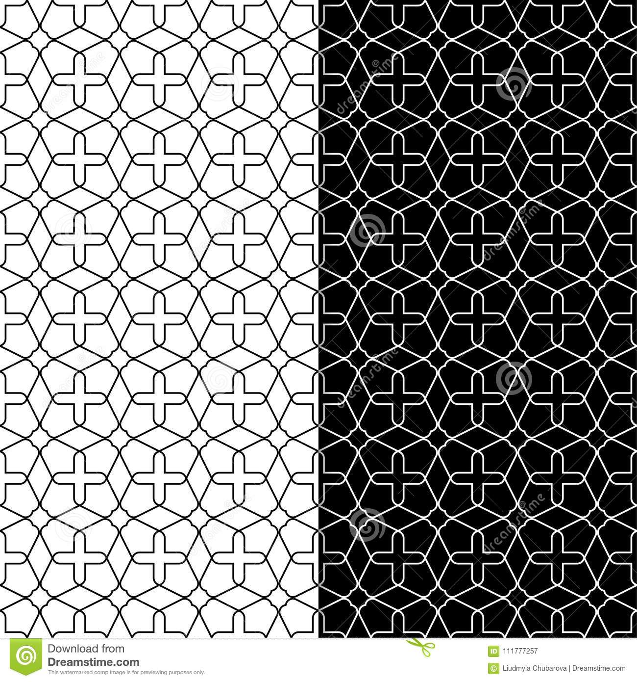 Black and white geometric ornaments. Set of seamless patterns
