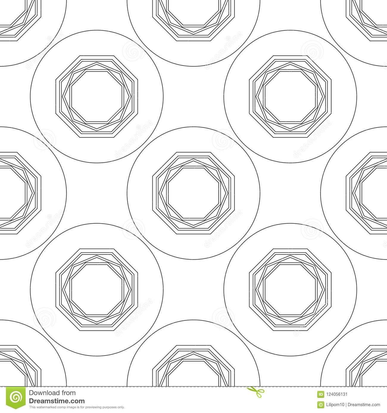 Black And White Geometric Seamless Pattern For Coloring Book, Page ...