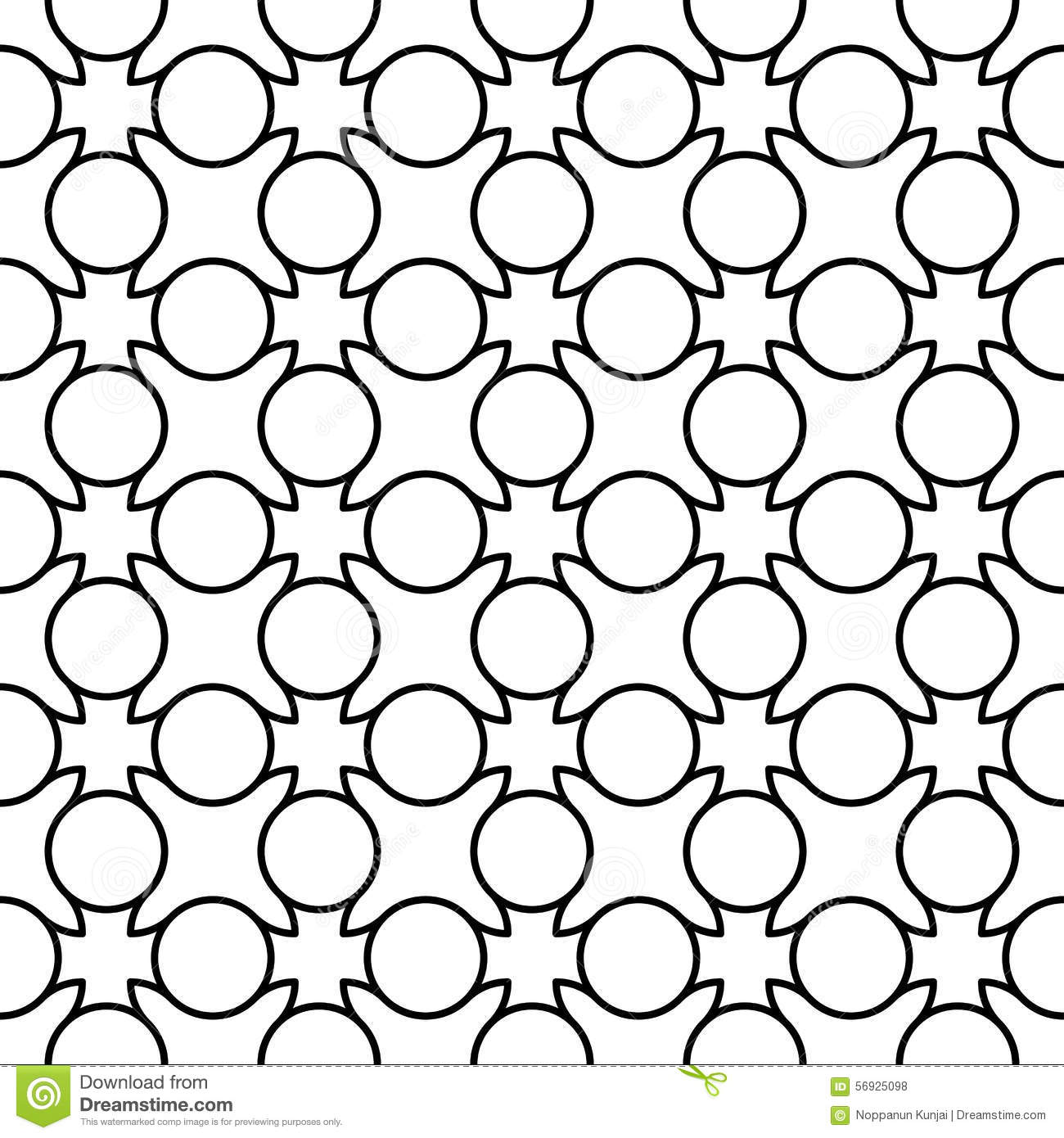 Black And White Geometric Seamless Pattern With Line And
