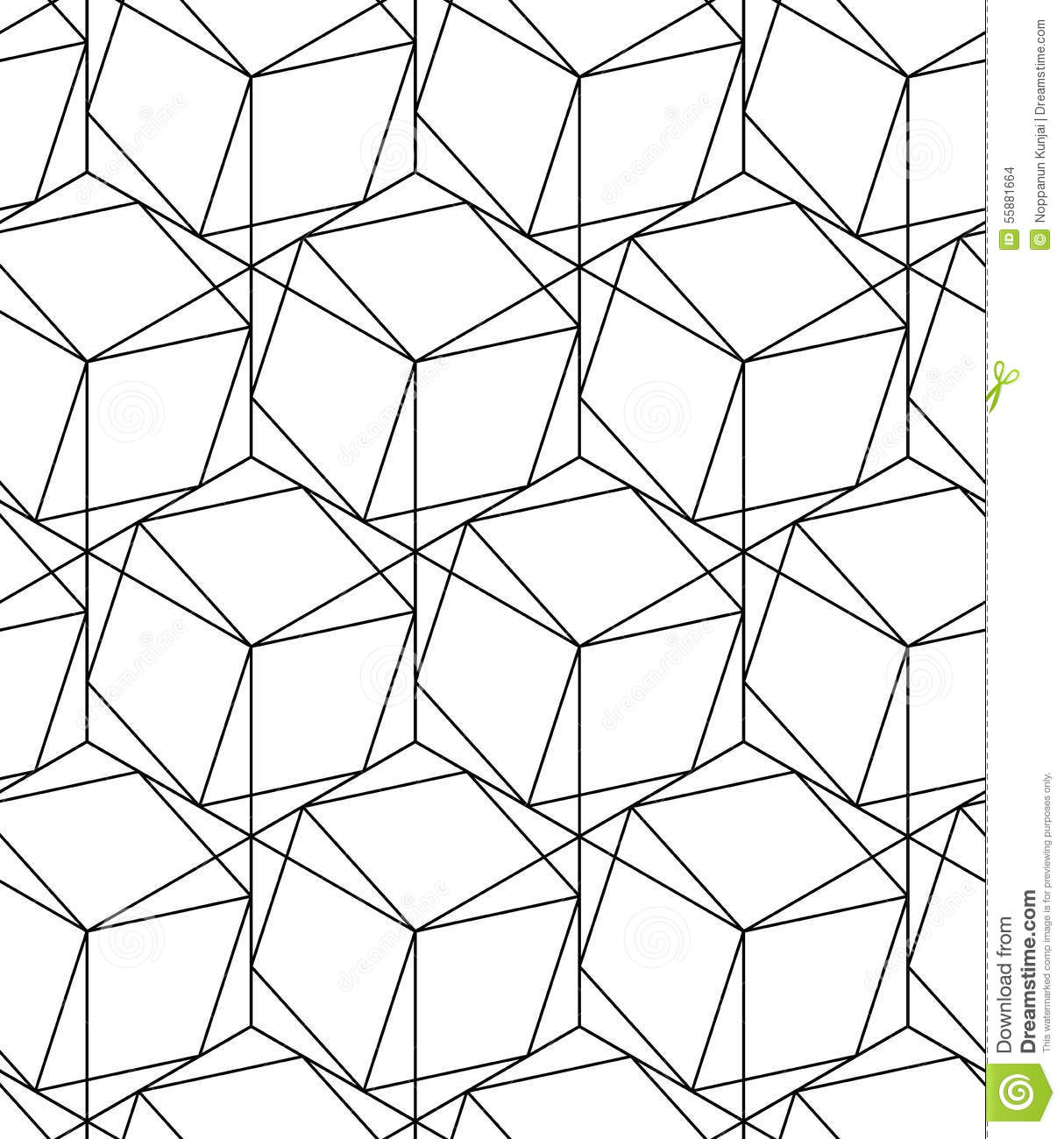 Geometric Line Design Patterns : Black and white geometric seamless pattern with line