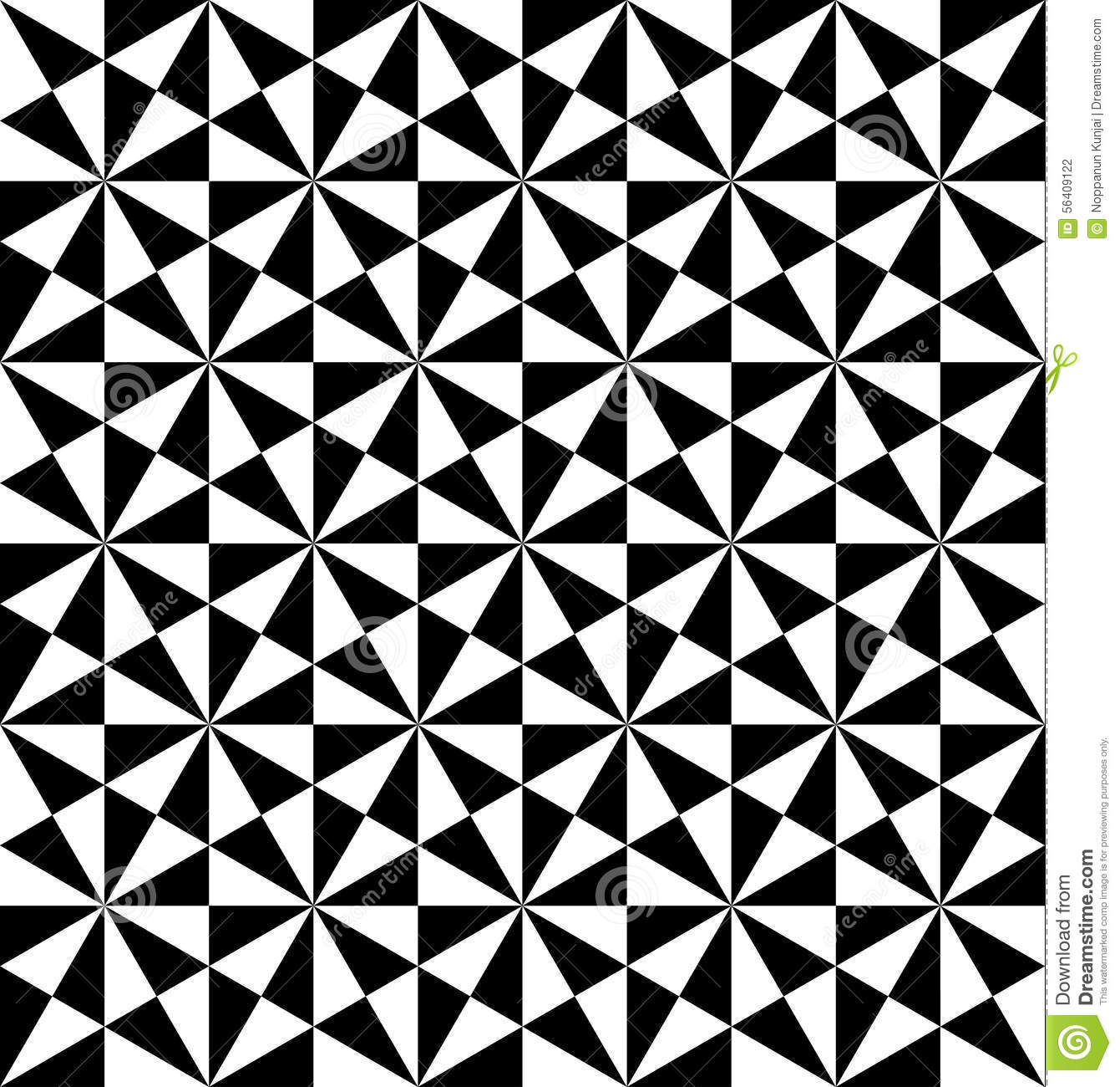 Black And White Geometric Seamless Pattern With Triangle