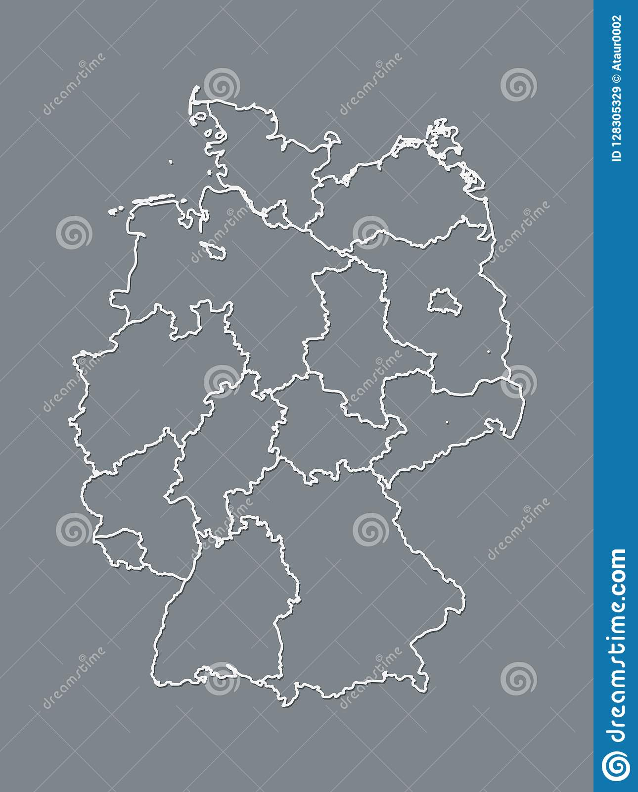 A Black And White Germany Map With Border Lines Of Different ...