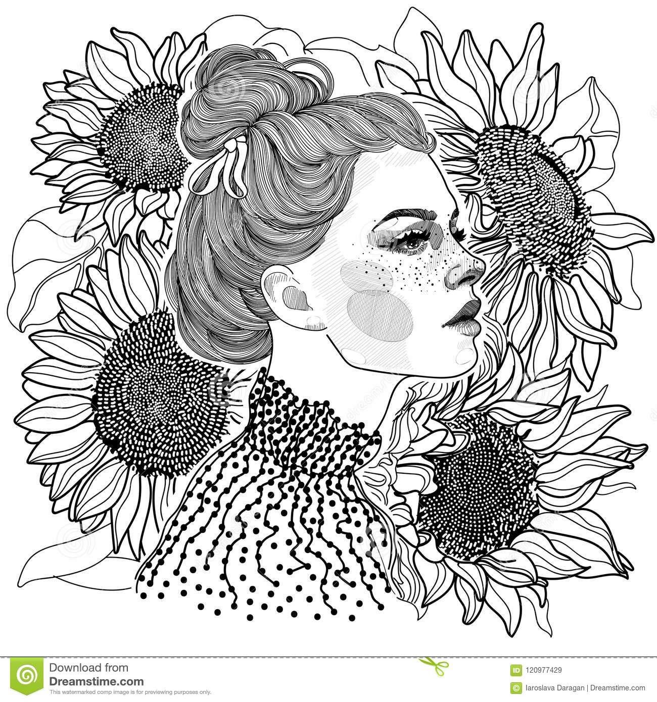 Black And White Girl Against A Background Of Sunflowers Stock Vector