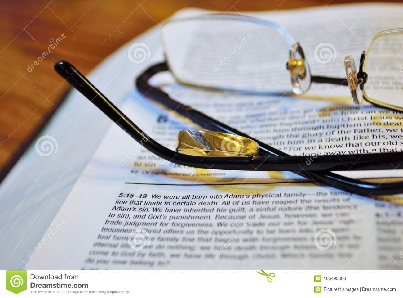 Glasses on a Bible stock photo  Image of black, divorce