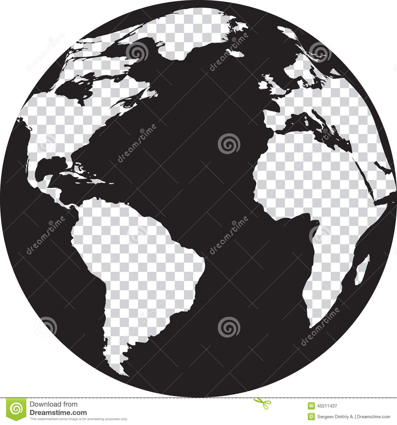 Black and white globe with transparency continents stock vector illustration of america - Black and wait ...