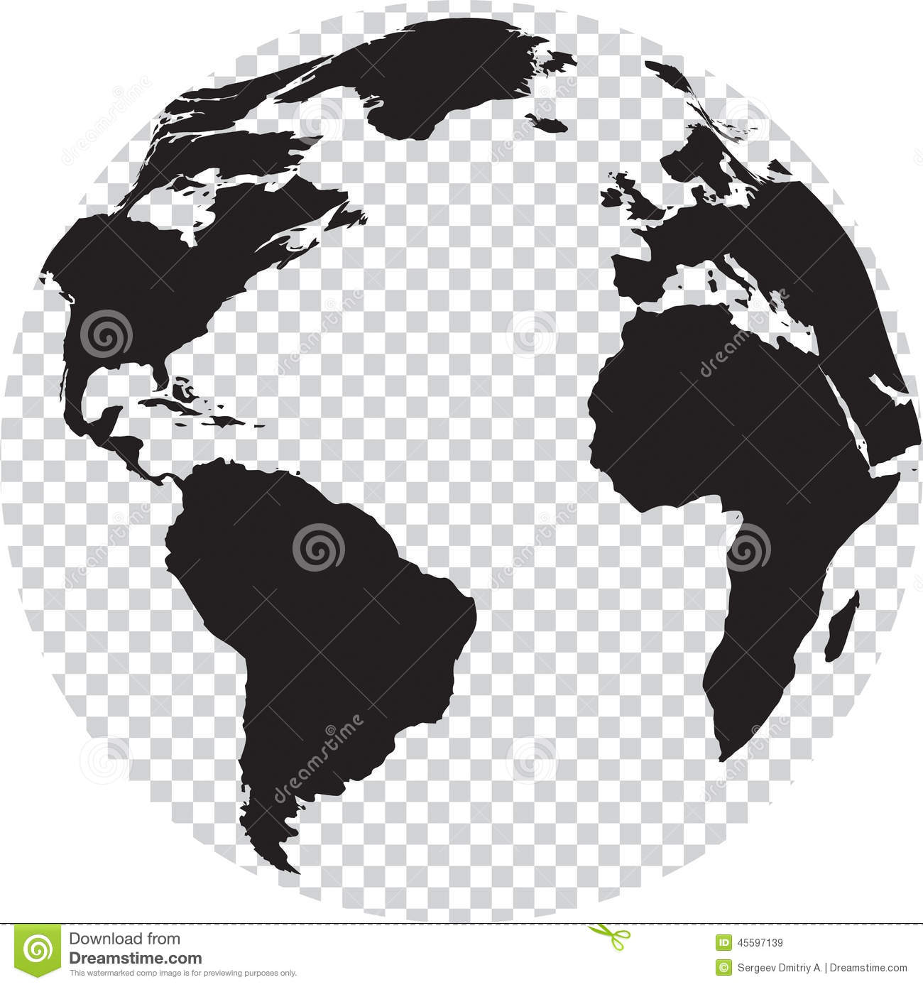 Download Black And White Globe With Transparency On Seas Stock Vector    Illustration Of Ground,
