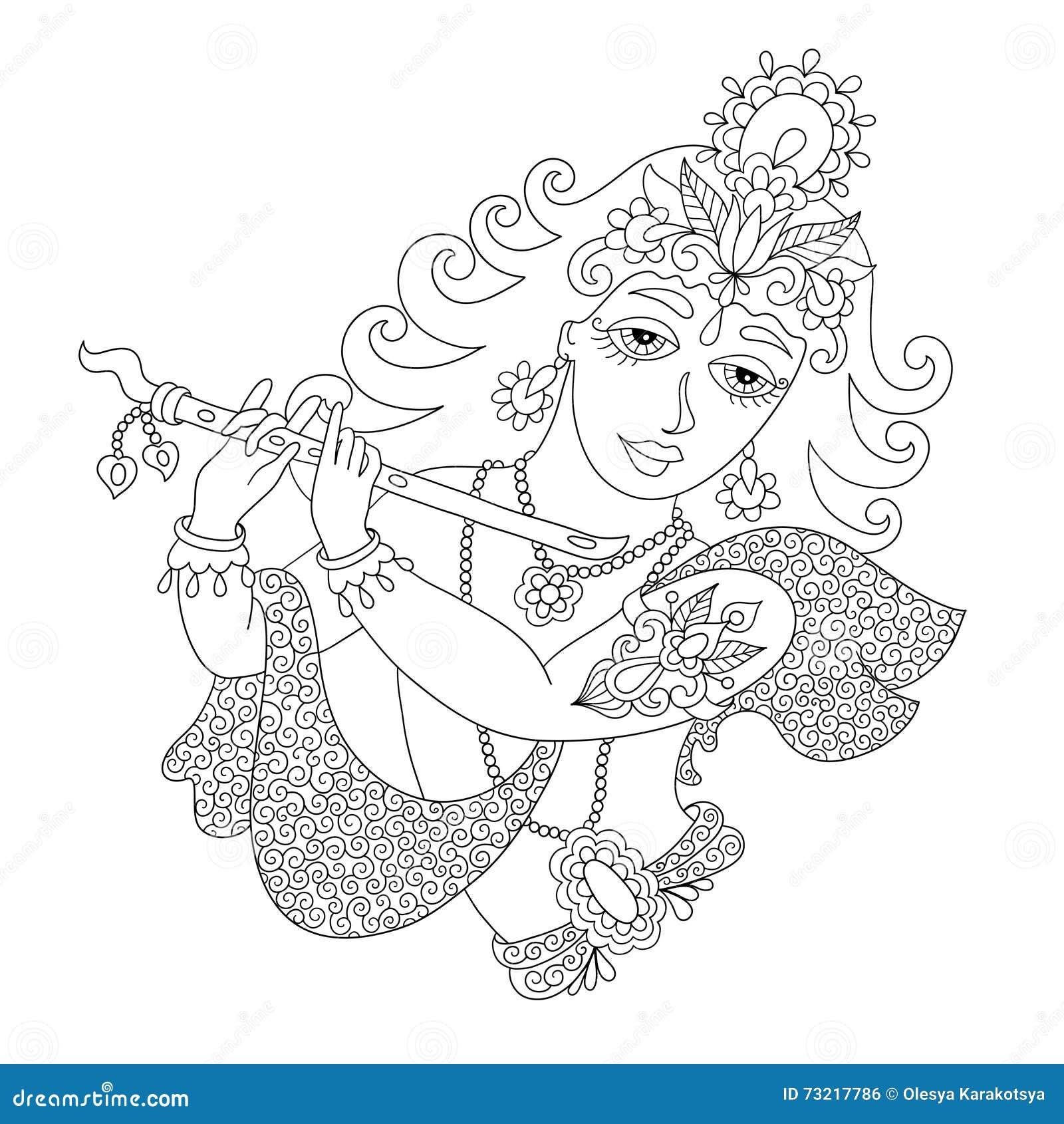 Black And White God Lord Krishna For Janmashtami Festival