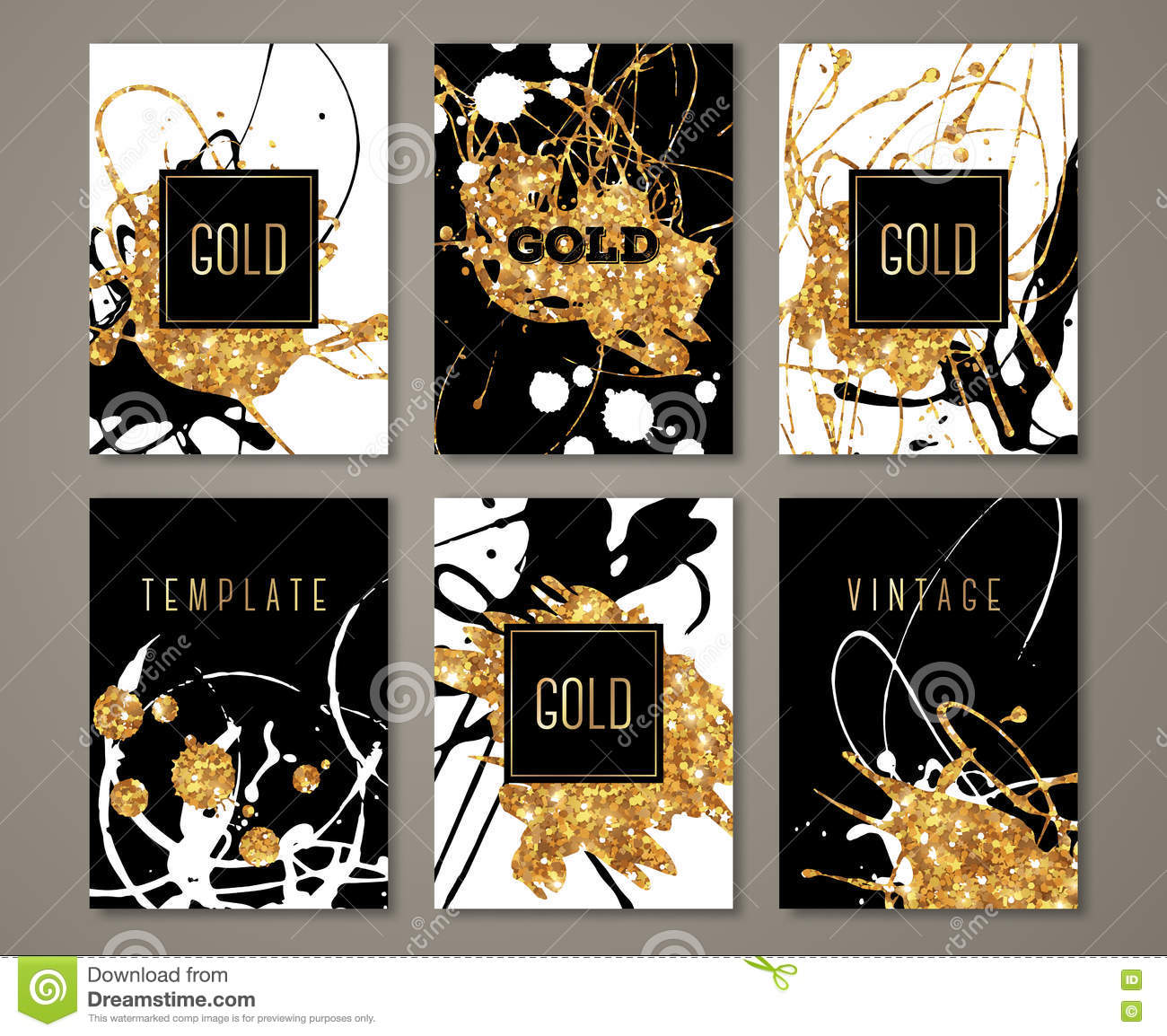 Black White And Gold Painted Banners Set Stock Vector
