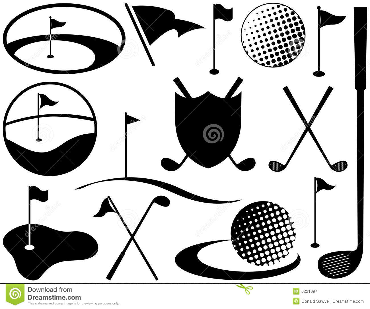 Black and White Golf Icons stock vector. Illustration of ...