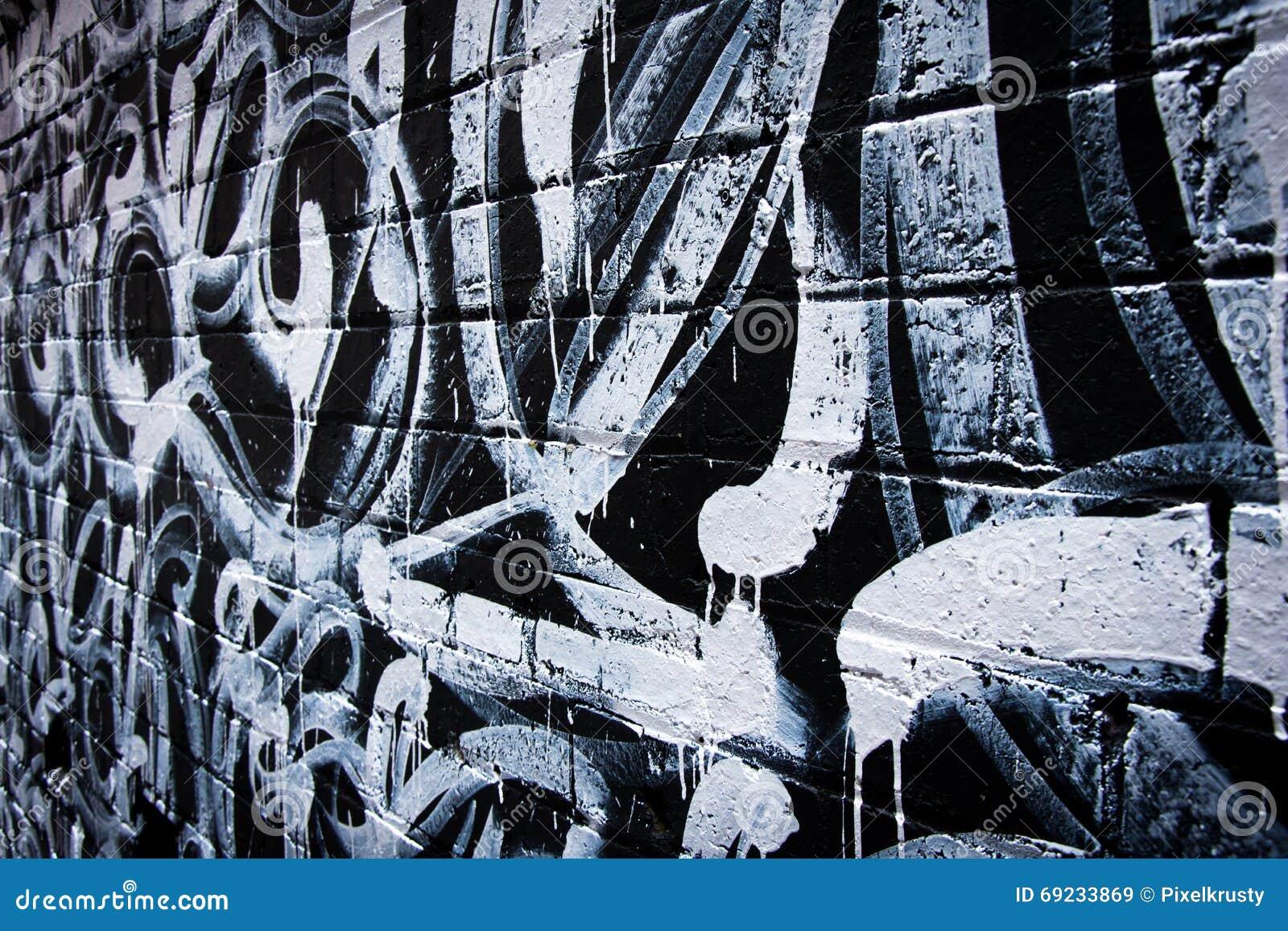 Graffiti wall black - Black And White Graffiti On Brick Wall