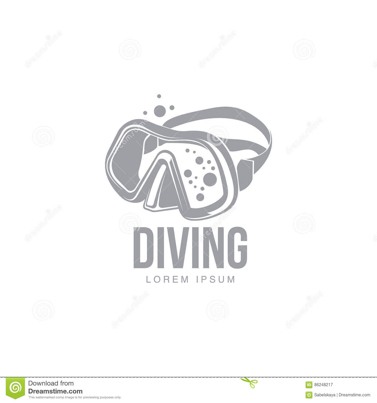 Black And White Graphic Diving Logo Template With Diver Mask