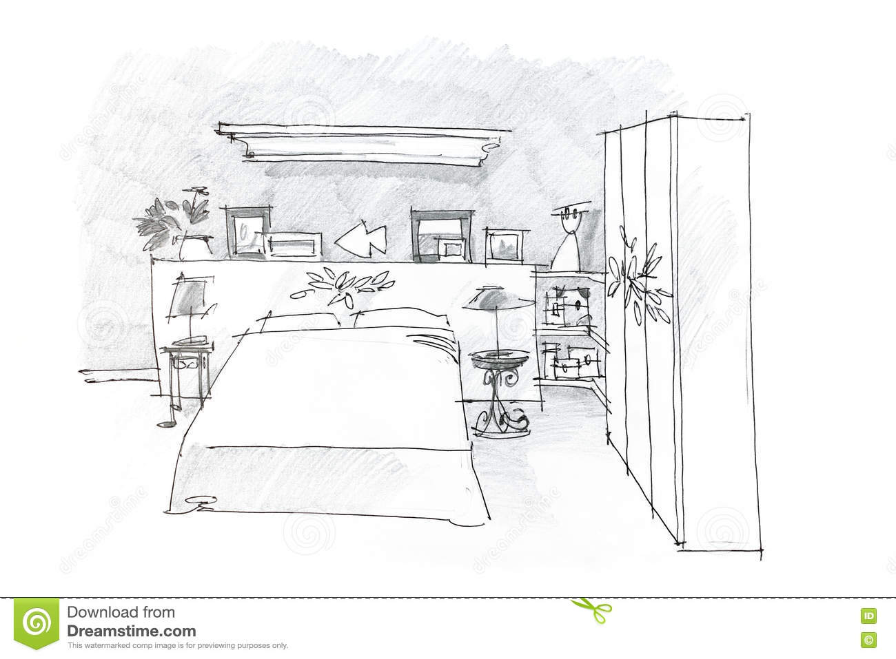 Black and white graphical sketch of bedroom drawn with for Bedroom designs sketch