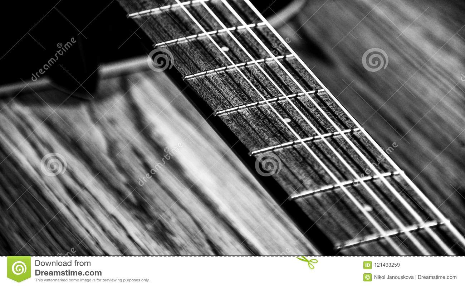 Black White Guitar Strings Diagonals Detail Chords Sing Song Play