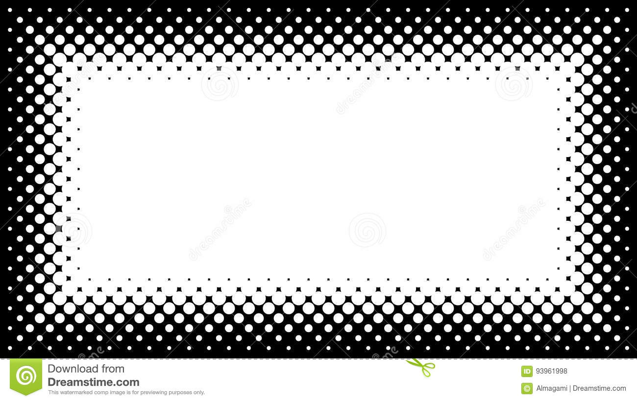 Black And White Halftone Frame With Copyspace For Presentation O ...