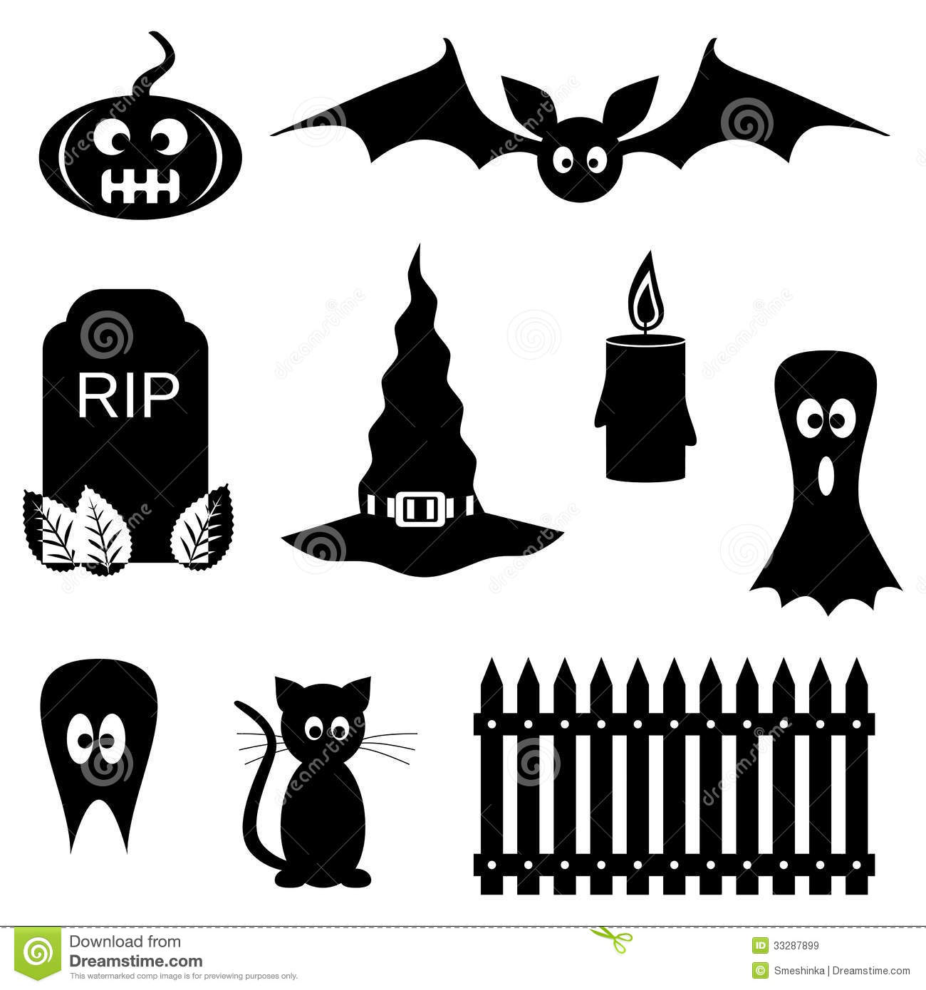 black and white halloween symbols stock vector image 33287899