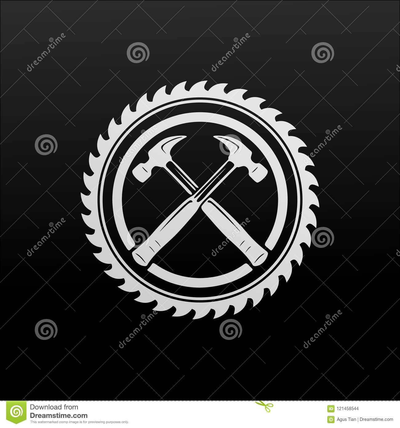 BLACK AND WHITE HAMMER WITH A SAW VECTOR DESIGN