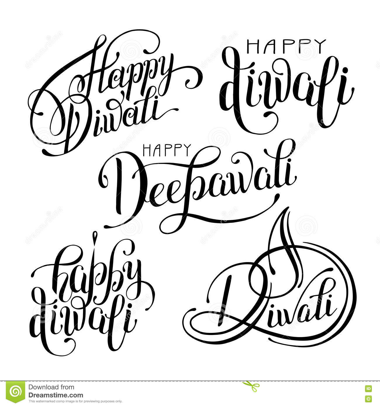 Black And White Hand Drawing Design Element Lettering Stock Vector ... for Diwali Festival Black And White Images  289ifm