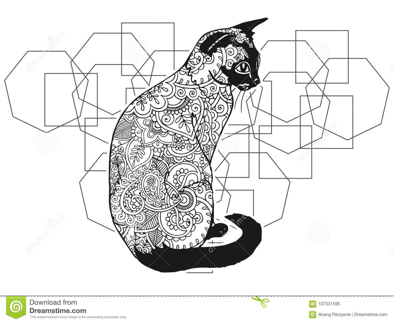 Black And White Hand Drawn Cat In Doodle Animal Paisley Adult Stress ...