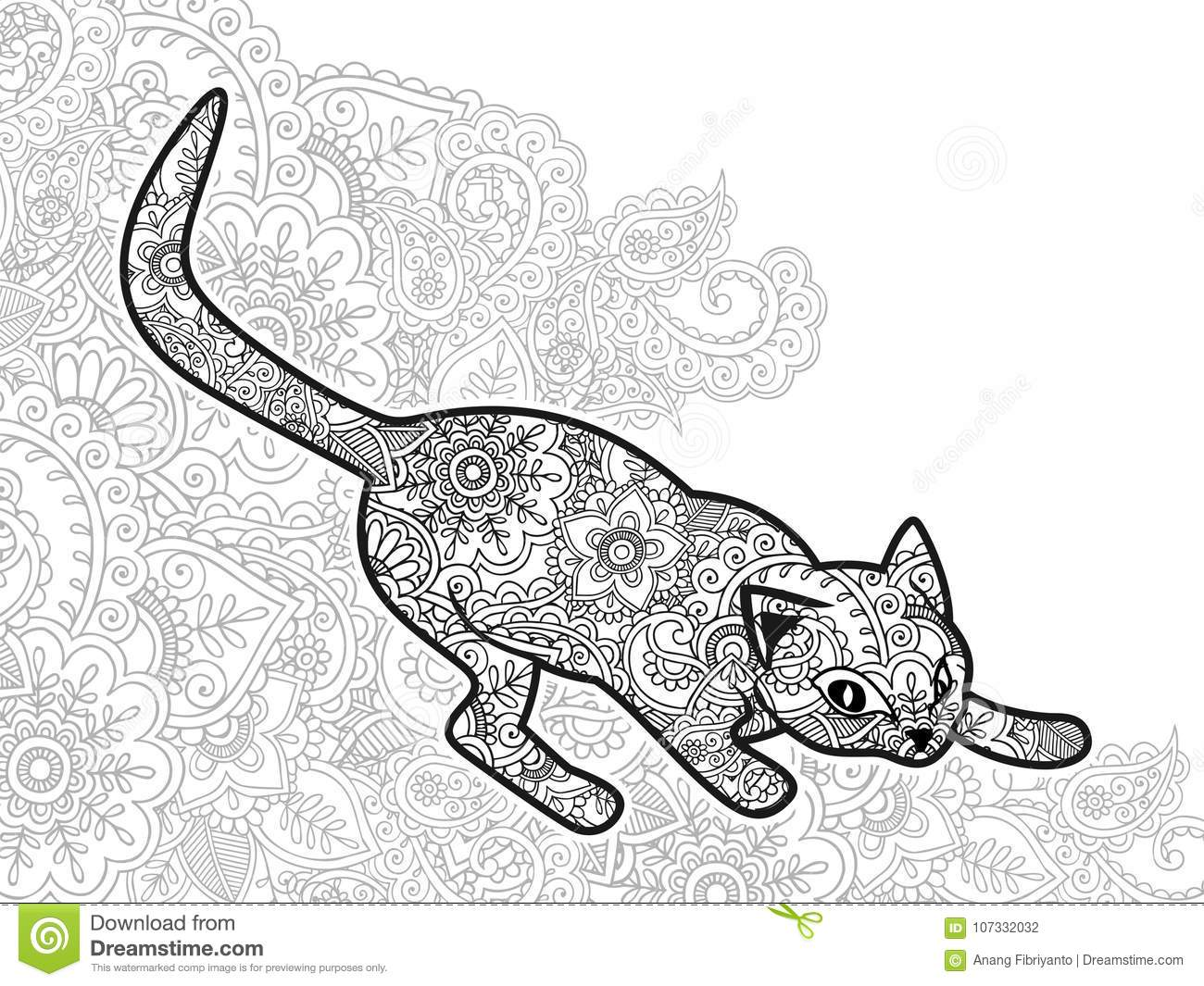 Black And White Hand Drawn Cat In Doodle Animal Paisley ...