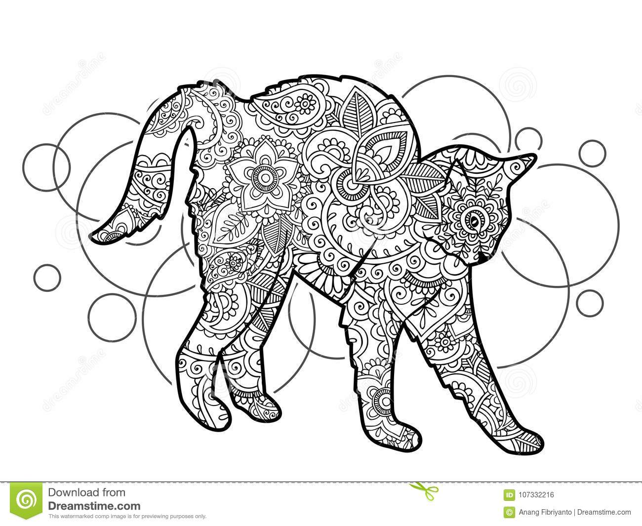 Black And White Hand Drawn Cat Doodle Animal Paisley Adult ...