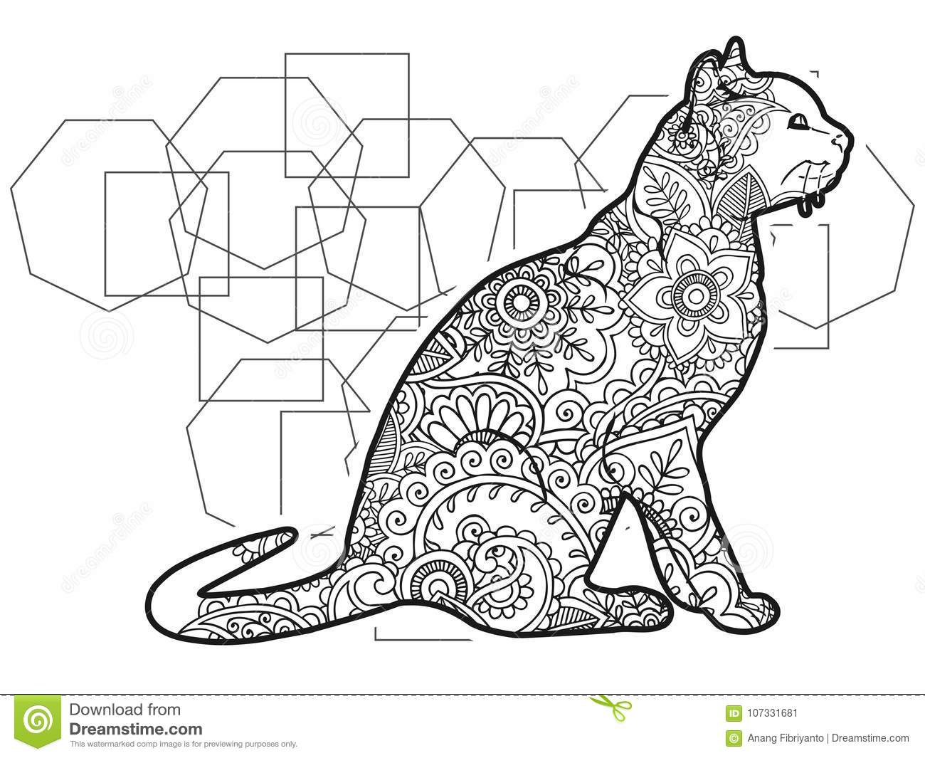 black and white hand drawn cat doodle animal paisley adult stress release coloring page. Black Bedroom Furniture Sets. Home Design Ideas