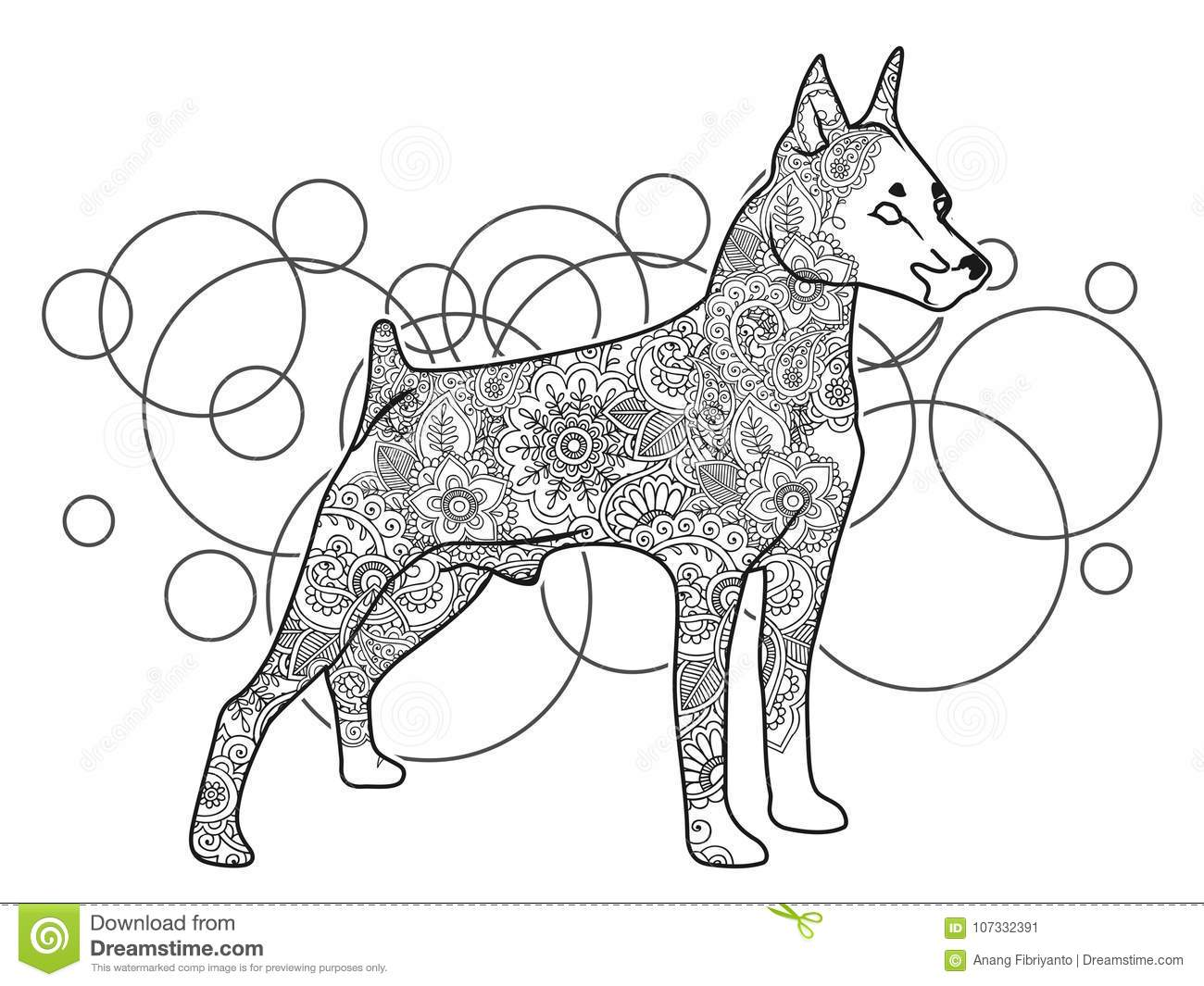 black white hand drawn dog doodle animal paisley adult stress release coloring page zentangle