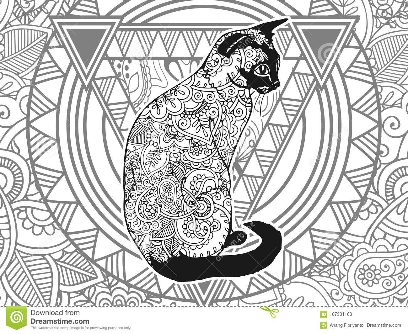 Black And White Cat Hand Drawn Doodle Animal Paisley Adult ...