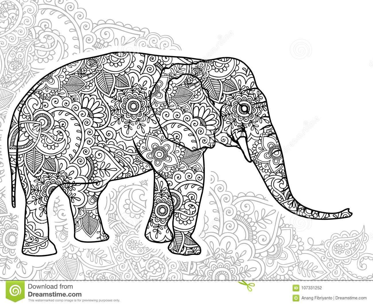 Download Black And White Elephant Hand Drawn Doodle Animal Paisley Adult Stress Release Coloring Page Zentangle