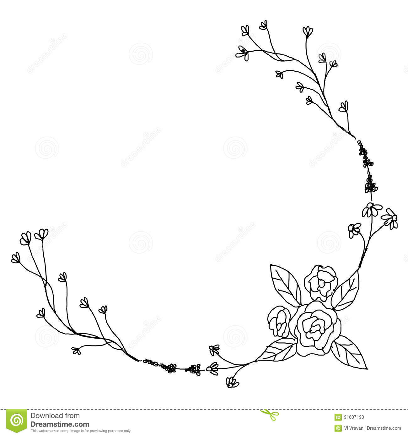 Black and white hand drawn flower vintage design wreath for Decoration drawing
