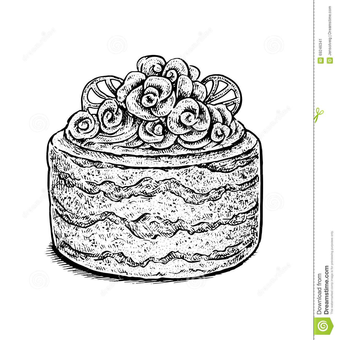 Cake Line Art Vector Free Download : Black And White Hand Drawn Vector Illustration Of A Creamy ...