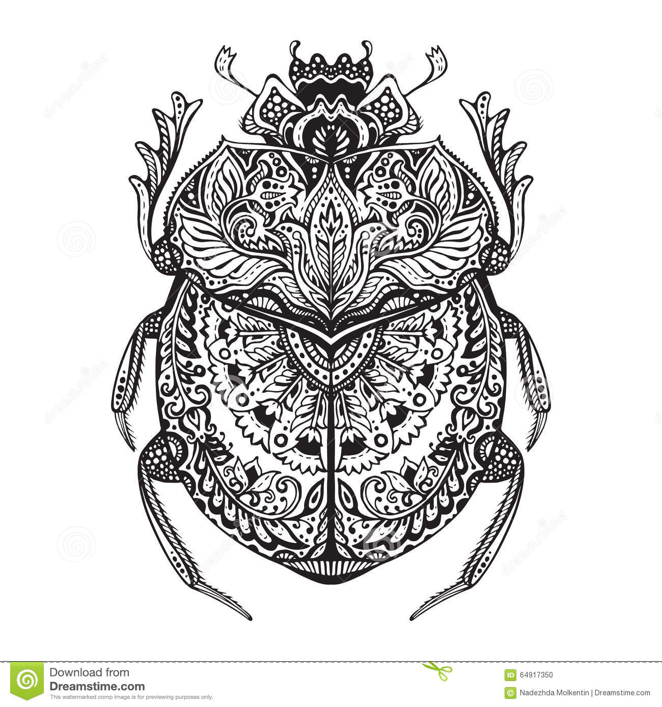 Black And White Hand Drawn Zentangle Stylized Scarab