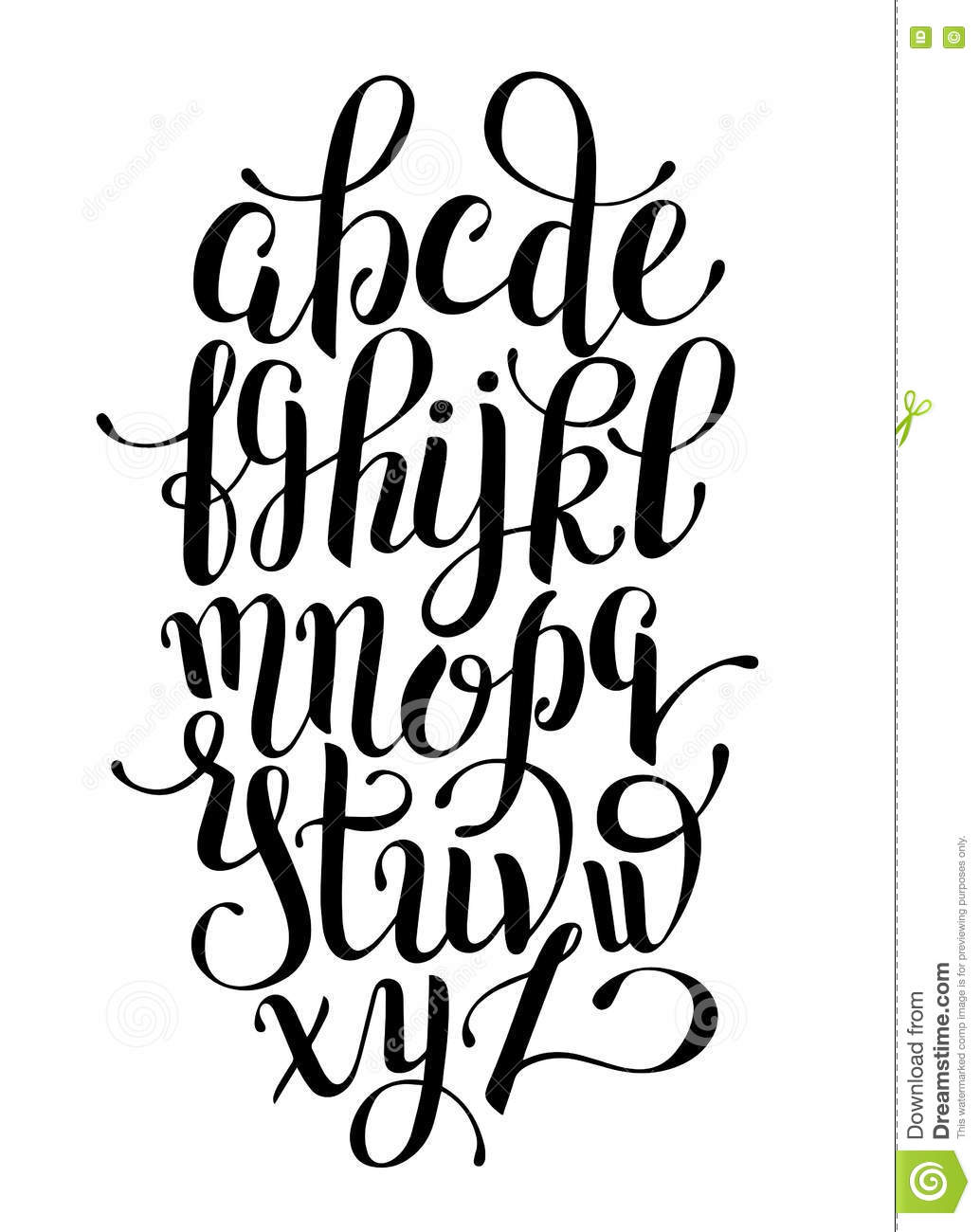 Black and white hand lettering alphabet design