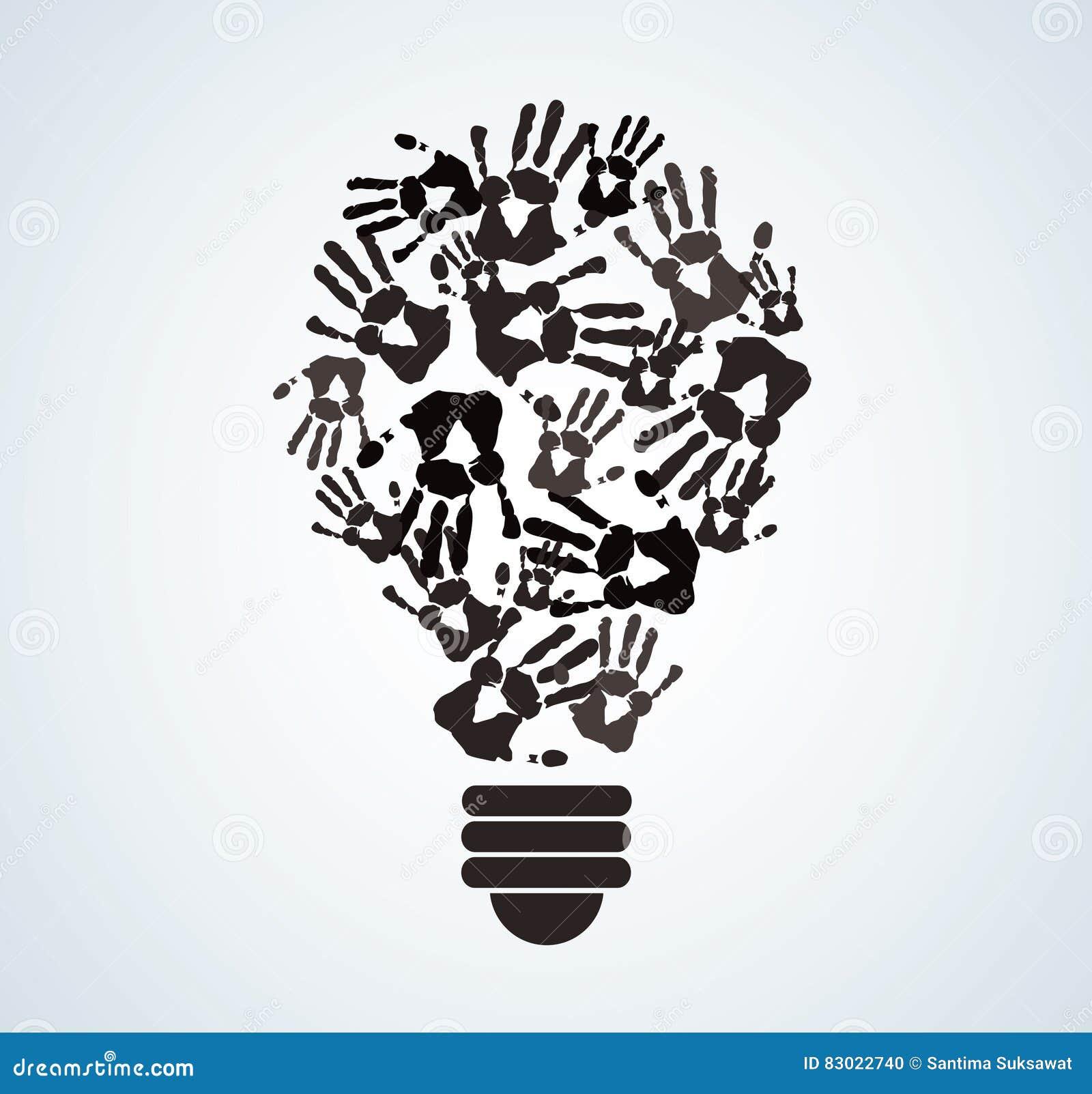 Black and white hand print in lightbulb shape symbol of thinking black and white hand print in lightbulb shape symbol of thinking concept biocorpaavc