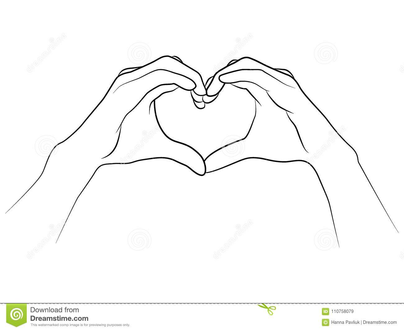 Hands Folded Together In The Shape Of A Heart Stock Vector
