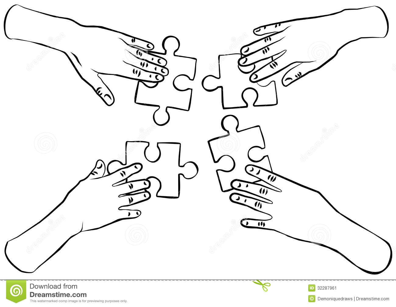 Black And White Hands With Puzzles Teamwork Stock Image - Image ...