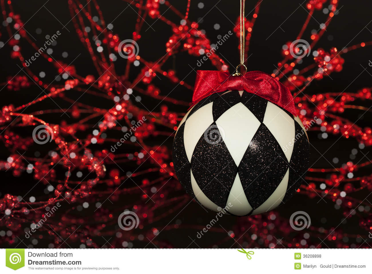 black white harlequin christmas ornament