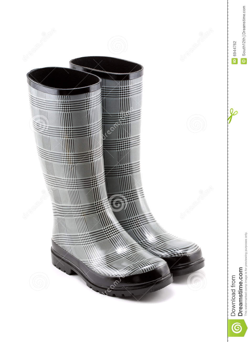 Black And White Checkered Rain Boots - Boot Ri