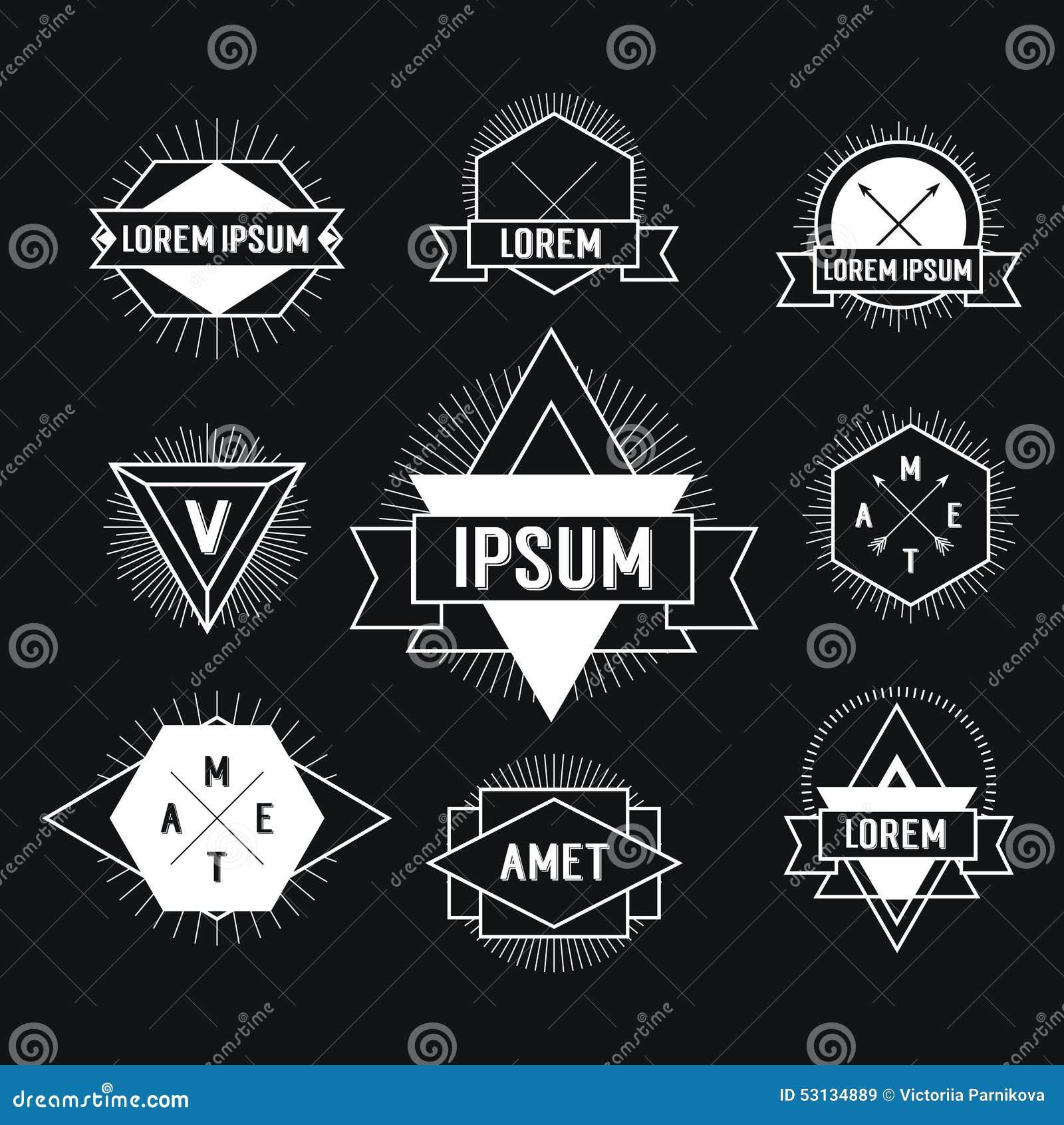 Black And White Hipster Logo Stock Vector Illustration Of