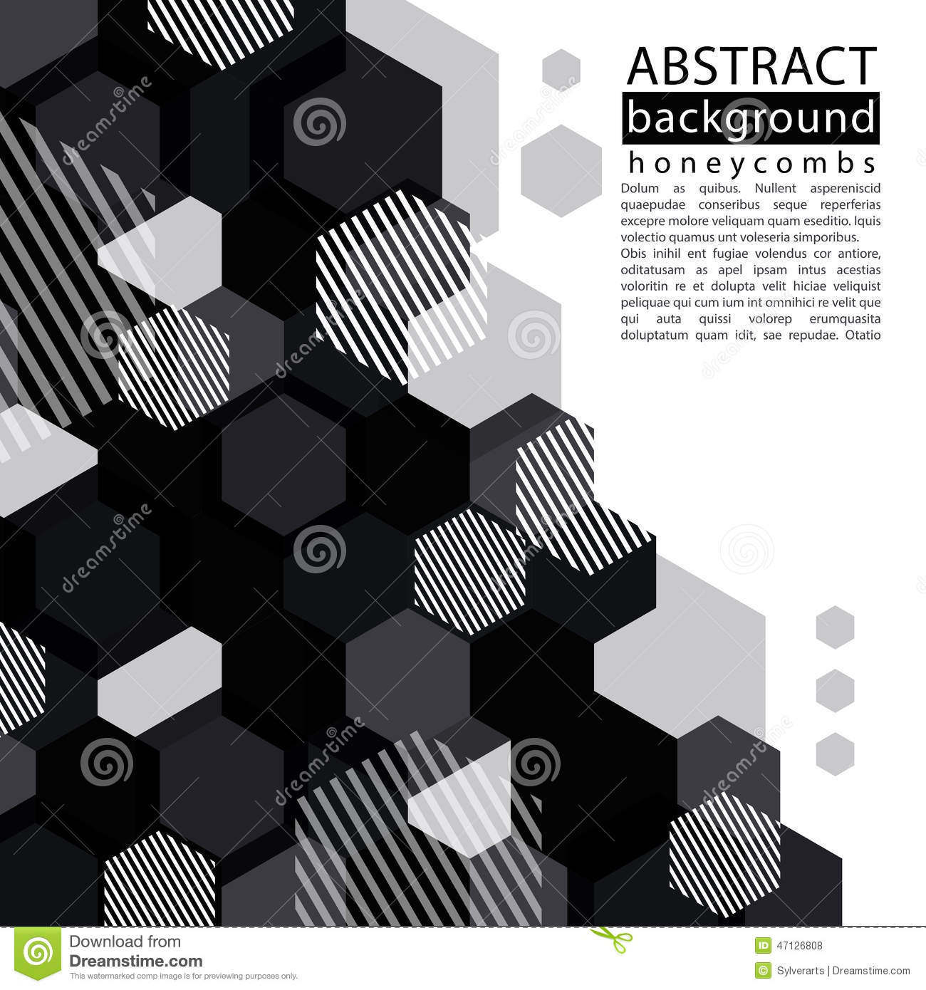Black and white honeycomb abstract background with caption and t
