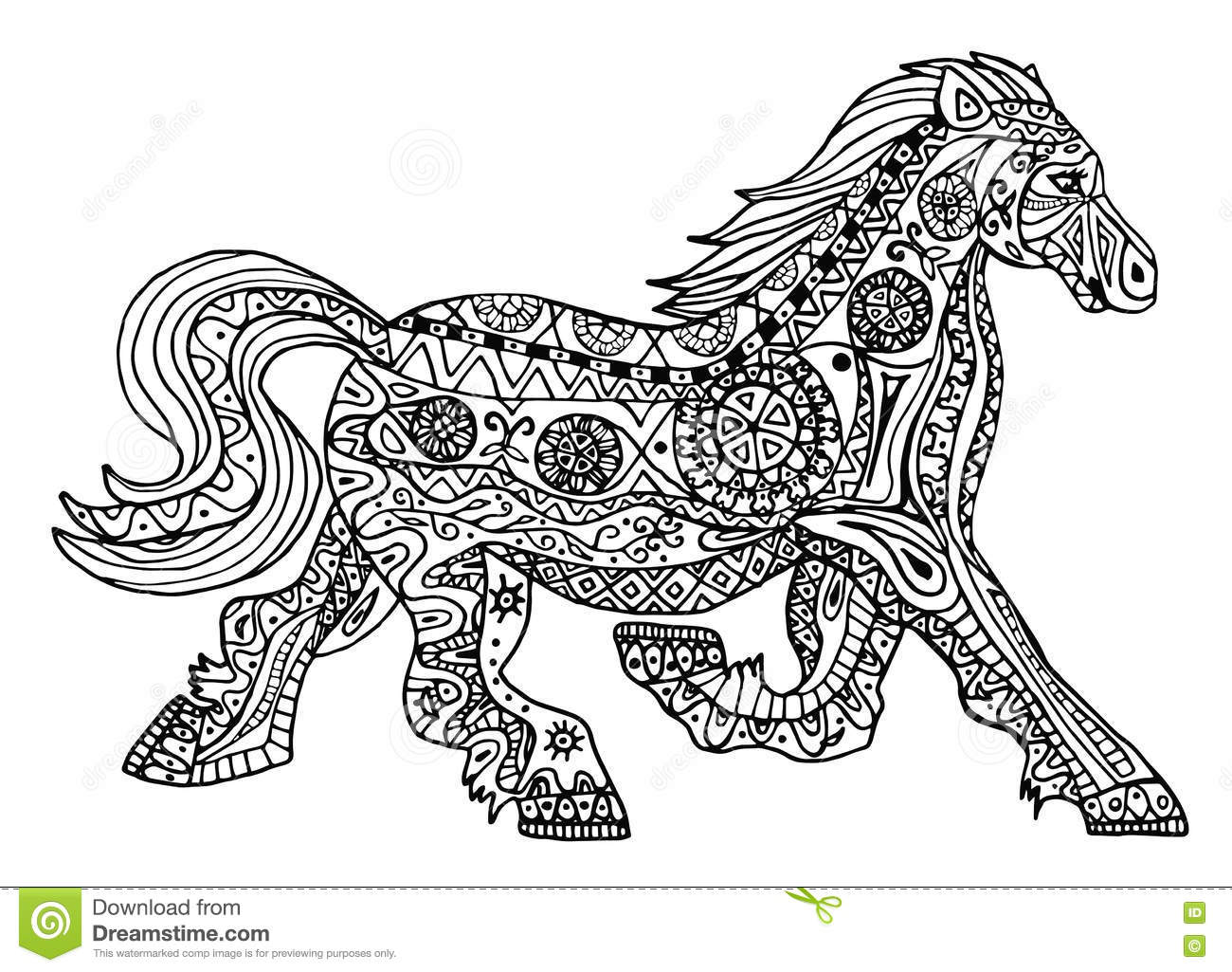 The Black And White Horse Print With Ethnic Zentangle Patterns